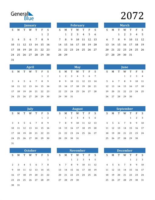 Image of 2072 2072 Calendar