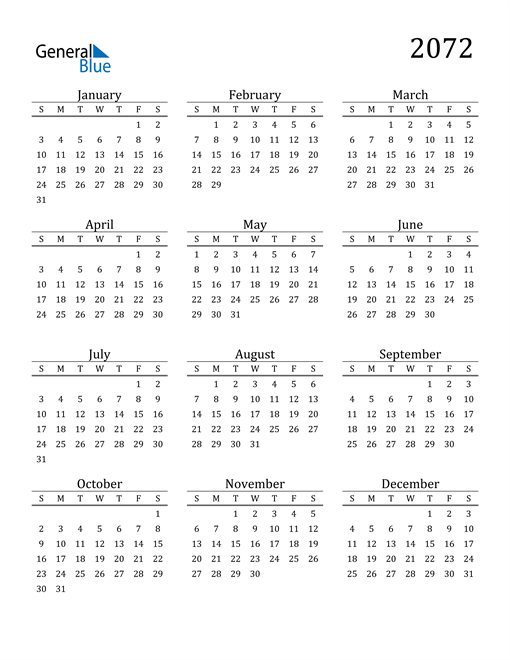 Image of 2072 2072 Printable Calendar Classic