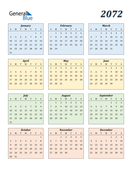 Image of 2072 2072 Calendar with Color
