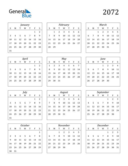 Image of 2072 2072 Calendar Streamlined