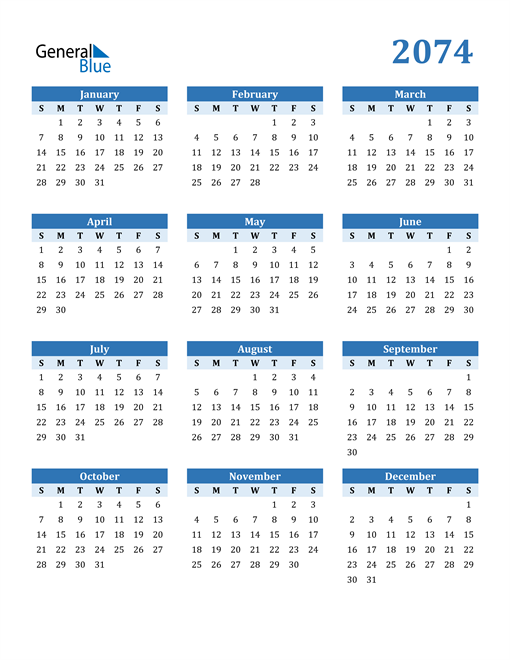Image of 2074 2074 Calendar Blue with No Borders
