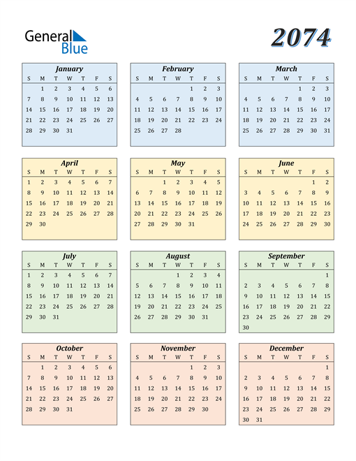 Image of 2074 2074 Calendar with Color