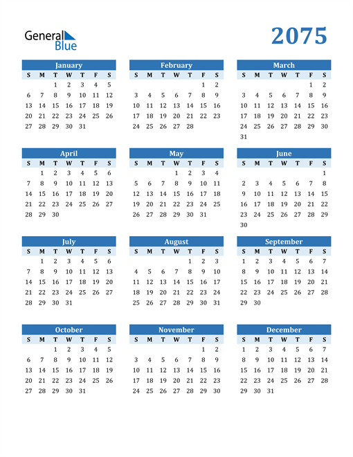 Image of 2075 2075 Calendar Blue with No Borders