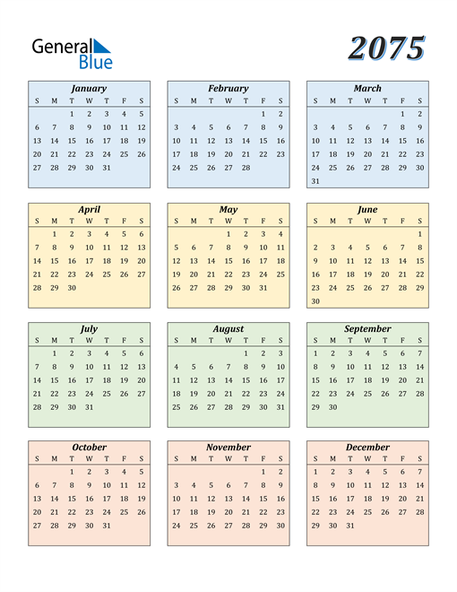 Image of 2075 2075 Calendar with Color