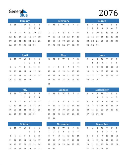 Image of 2076 2076 Calendar