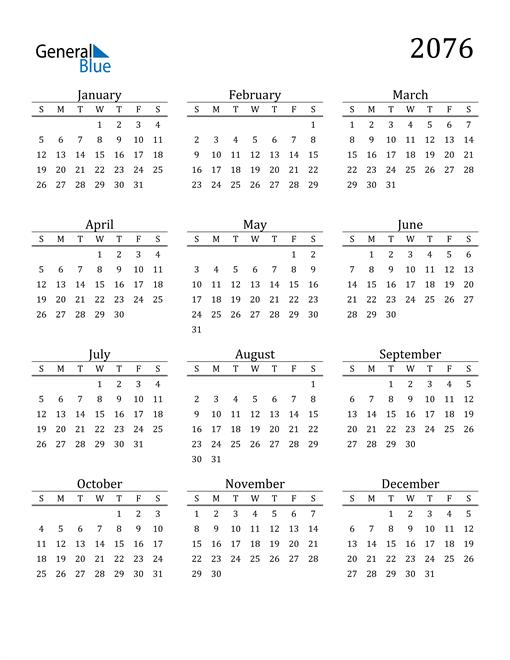 Image of 2076 2076 Printable Calendar Classic