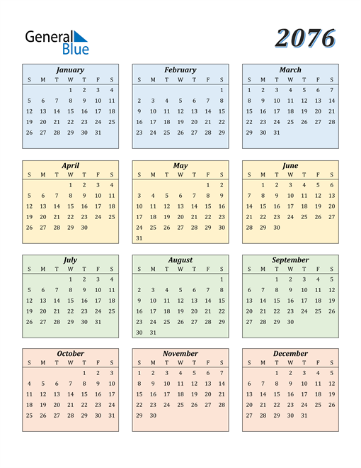 Image of 2076 2076 Calendar with Color