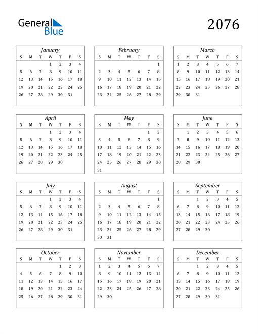Image of 2076 2076 Calendar Streamlined