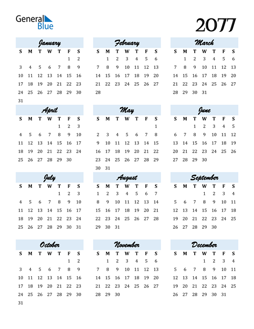 Image of 2077 2077 Calendar Cool and Funky