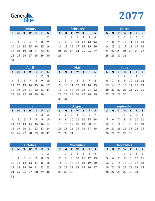 Image of 2077 2077 Calendar Blue with No Borders