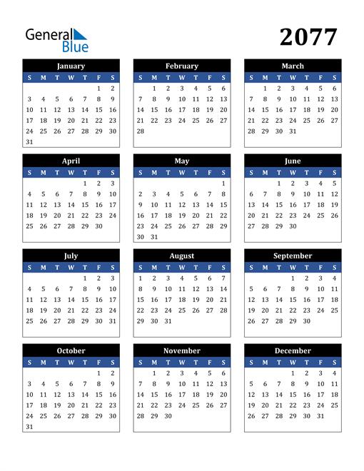 Image of 2077 2077 Calendar Stylish Dark Blue and Black