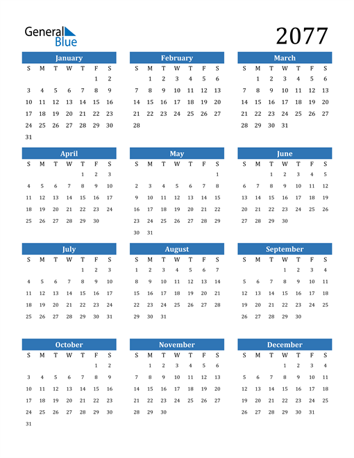 Image of 2077 2077 Calendar