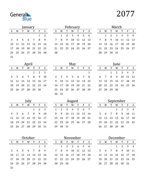 Image of 2077 2077 Printable Calendar Classic