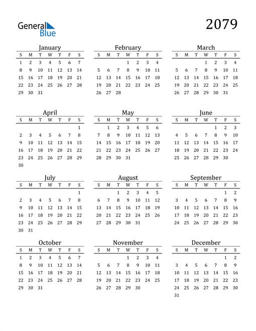 Image of 2079 2079 Printable Calendar Classic