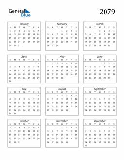 Image of 2079 2079 Calendar Streamlined