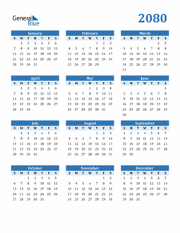 Image of 2080 2080 Calendar Blue with No Borders
