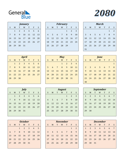 Image of 2080 2080 Calendar with Color