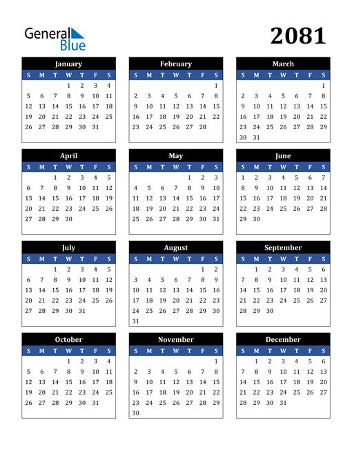 Image of 2081 2081 Calendar Stylish Dark Blue and Black