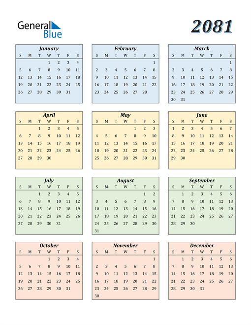 Image of 2081 2081 Calendar with Color