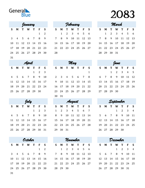 Image of 2083 2083 Calendar Cool and Funky
