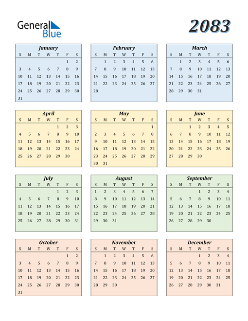 Image of 2083 2083 Calendar with Color