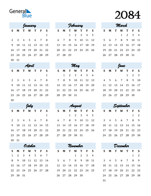 Image of 2084 2084 Calendar Cool and Funky