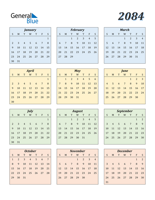 Image of 2084 2084 Calendar with Color