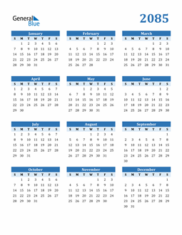 Image of 2085 2085 Calendar Blue with No Borders