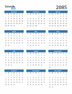 Image of 2085 2085 Calendar