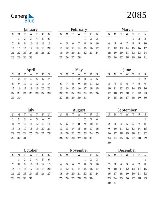 Image of 2085 2085 Printable Calendar Classic