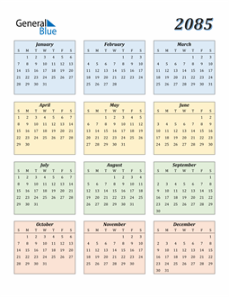 Image of 2085 2085 Calendar with Color