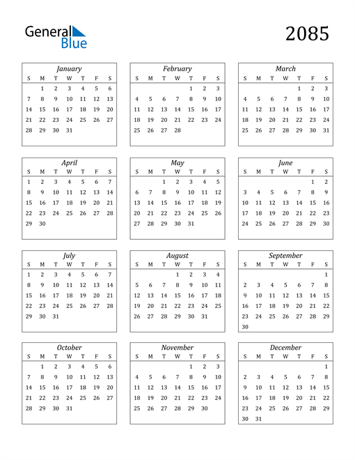 Image of 2085 2085 Calendar Streamlined