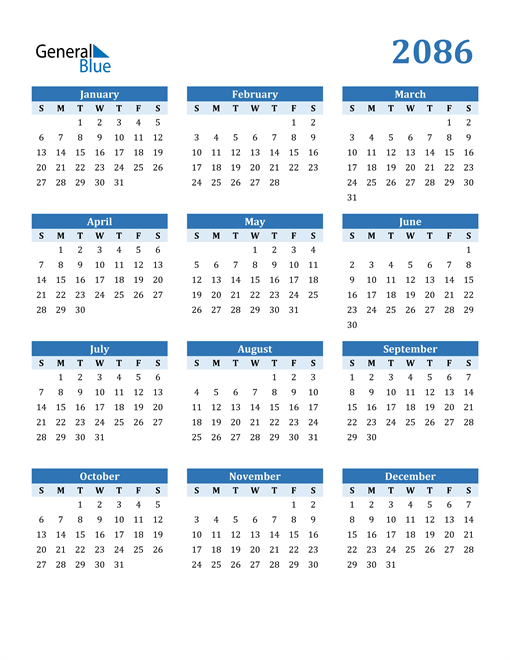 Image of 2086 2086 Calendar Blue with No Borders