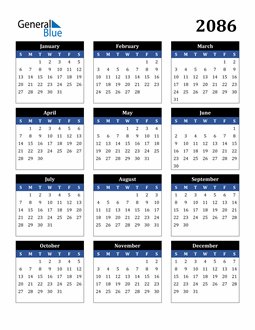 Image of 2086 2086 Calendar Stylish Dark Blue and Black