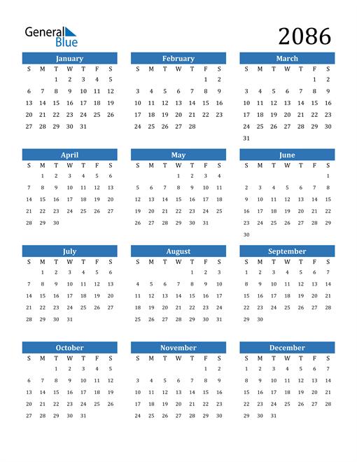 Image of 2086 2086 Calendar