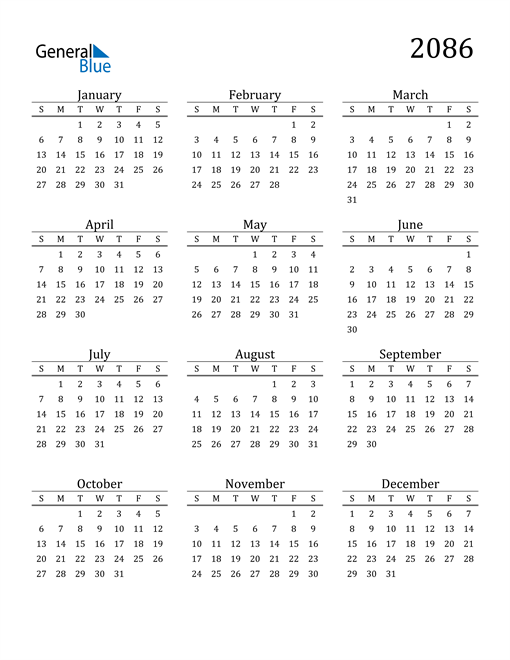 Image of 2086 2086 Printable Calendar Classic