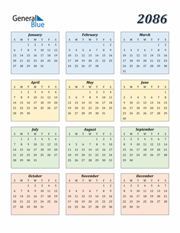 Image of 2086 2086 Calendar with Color