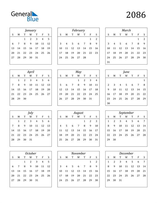 Image of 2086 2086 Calendar Streamlined