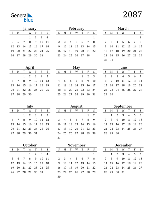 Image of 2087 2087 Printable Calendar Classic