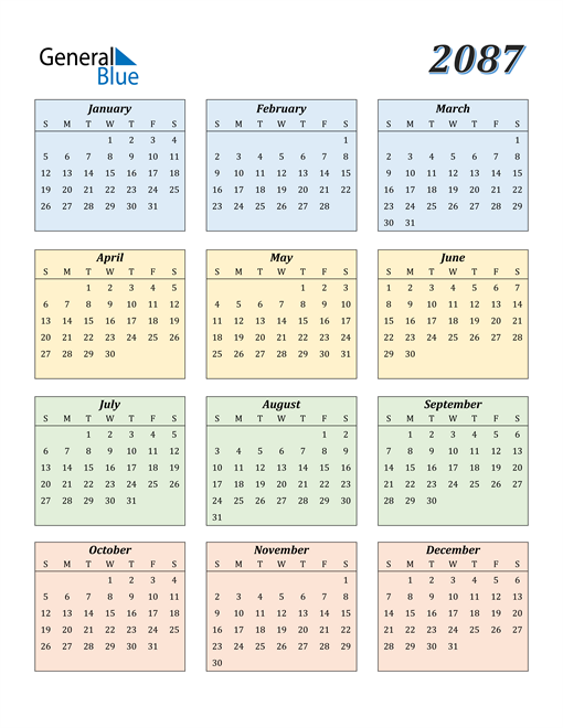 Image of 2087 2087 Calendar with Color