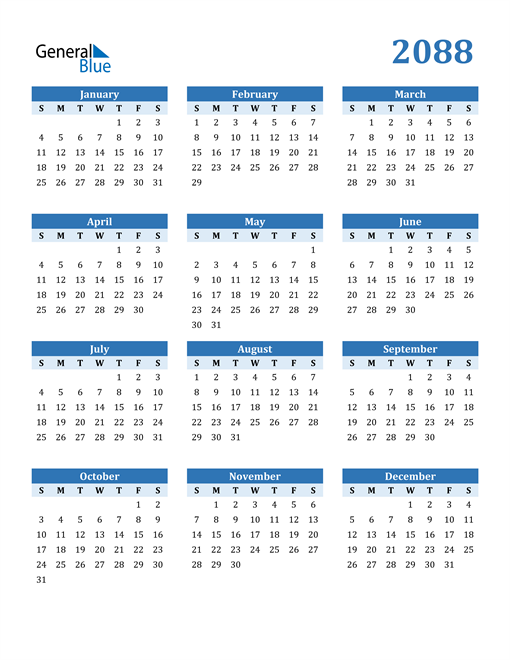Image of 2088 2088 Calendar Blue with No Borders