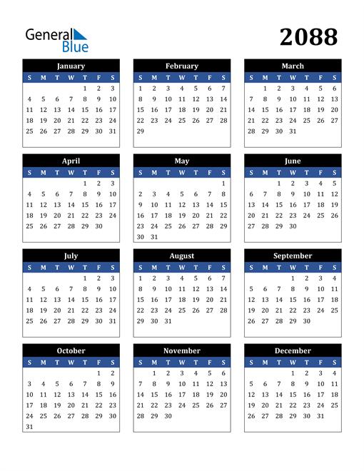 Image of 2088 2088 Calendar Stylish Dark Blue and Black