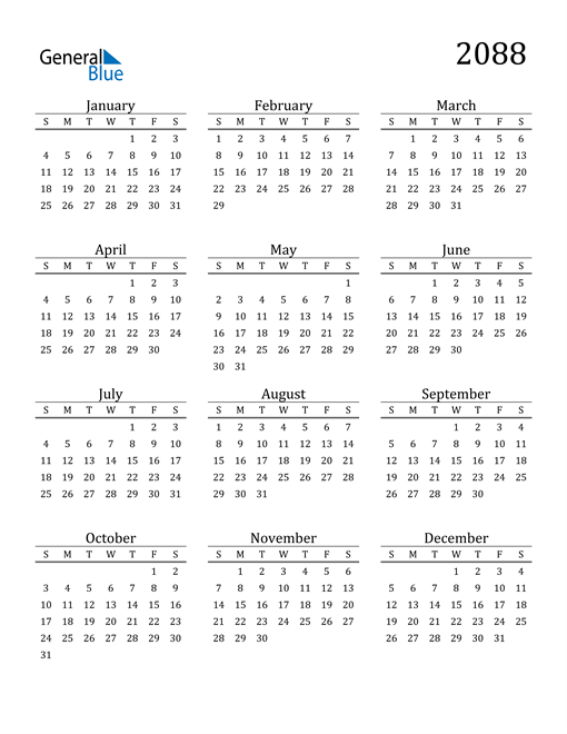 Image of 2088 2088 Printable Calendar Classic