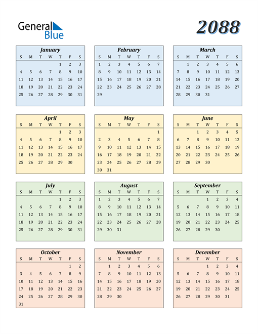 Image of 2088 2088 Calendar with Color