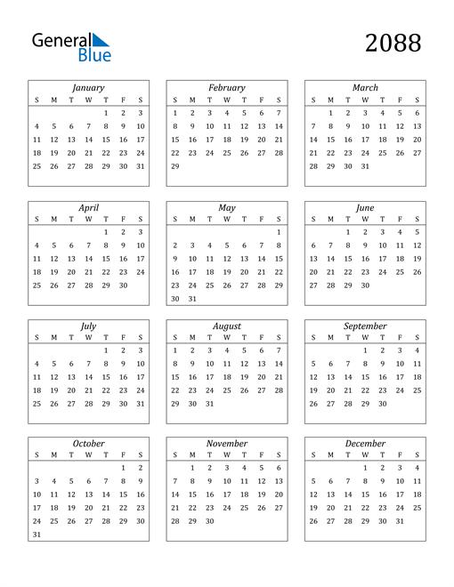 Image of 2088 2088 Calendar Streamlined