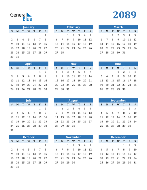 Image of 2089 2089 Calendar Blue with No Borders