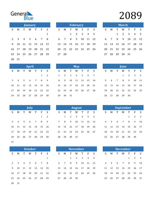 Image of 2089 2089 Calendar