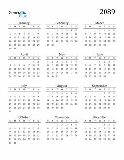 Image of 2089 2089 Printable Calendar Classic