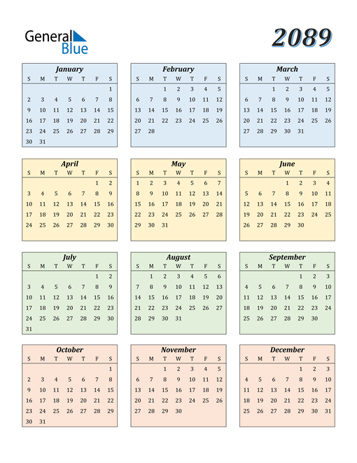 Image of 2089 2089 Calendar with Color