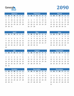 Image of 2090 2090 Calendar Blue with No Borders